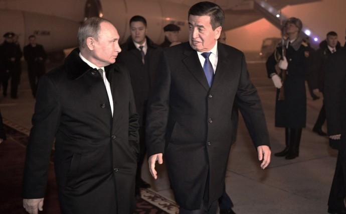 Путин и Жээнбеков в аэропорту