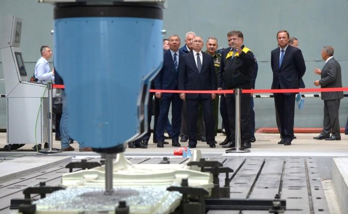 В ходе посещения Казанского авиационного завода имени С.П.Горбунова.