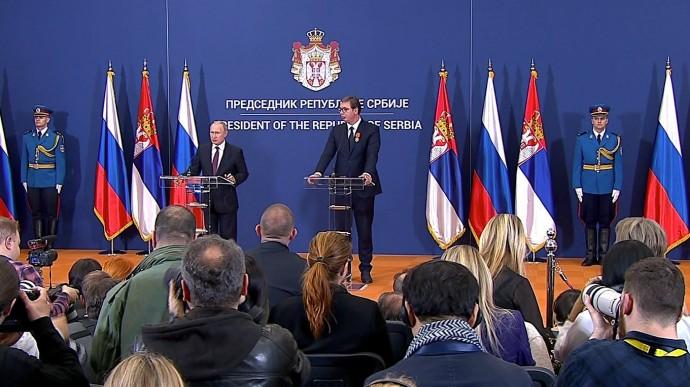 Видео: пресс-конференция Владимира Путина и Александра Вучича