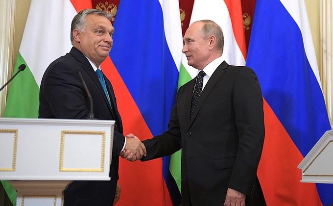 Видео: пресс-конференция Владимира Путина и Виктора Орбана