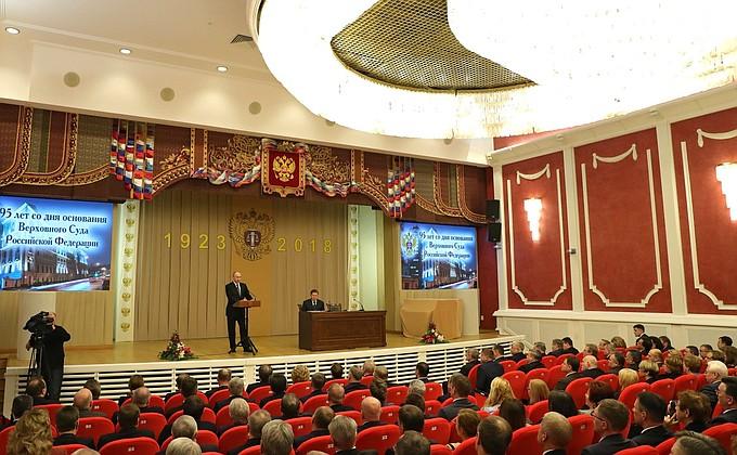 Президент России выступил наторжественном собрании, посвящённом 95-летию Верховного Суда
