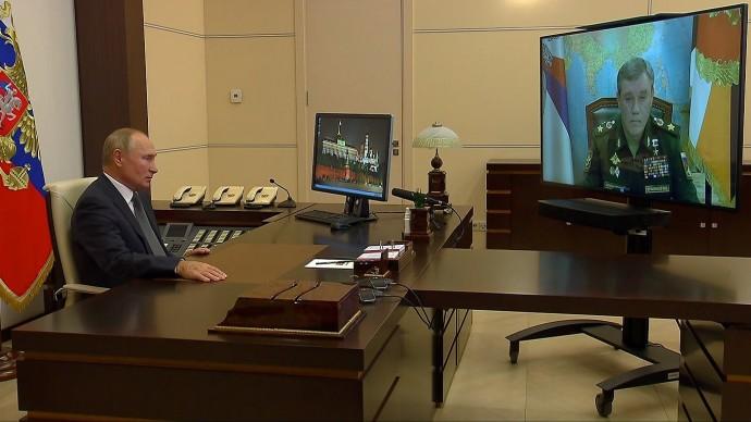 Видео со встречи Путина сначальником ГенштабаВооружённых Сил Валерием Герасимовым 7 октября 2020 г