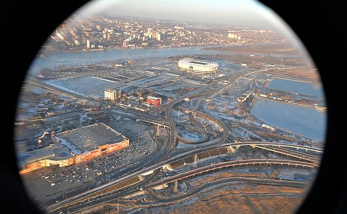 Президент России с воздуха осмотрел строительство стадиона «Ростов Арена»