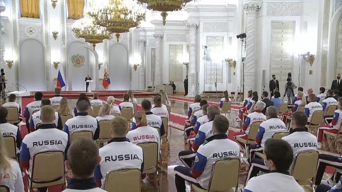 Видео со встречи Путина солимпийской сборной России 30 июня 2021 года