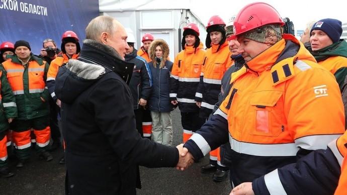 Видео: Путин на открытии Репинской транспортной развязки 26 января 2021 года