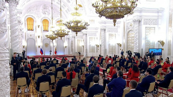 Видео со встречи Владимира Путина спобедителями ипризёрами Игр XXXII Олимпиады вТокио 11 сентября 2021 года