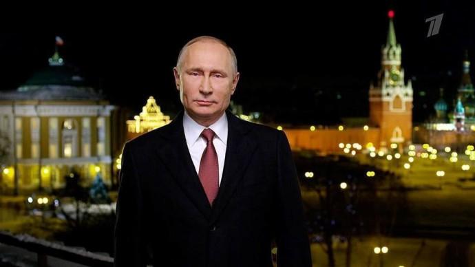 Поздравление Путина с новым 2019 годом и бой курантов