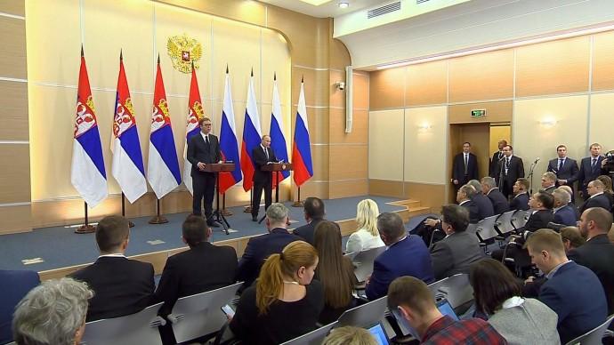 Видео пресс-конференции Путина и Вучича 4 декабря 2019 года