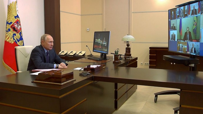 Видео совещания Путина спостоянными членами Совета Безопасности 30 мая 2020 года