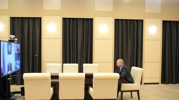 Видео совещания Путина спостоянными членами Совета Безопасности 3 апреля 2020 года
