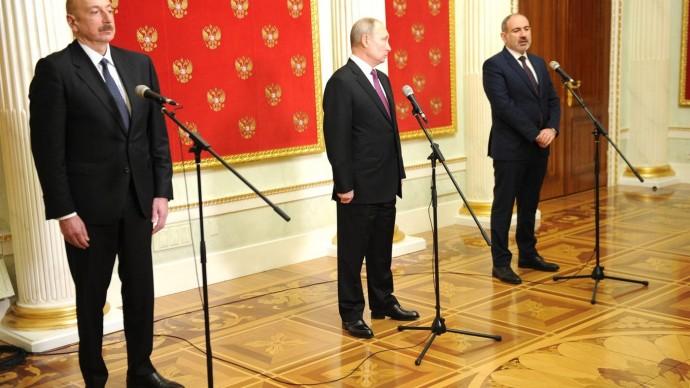 Видео: заявление для прессы поитогам переговоров Путина, Алиева иПашиняна 11 января 2021 года